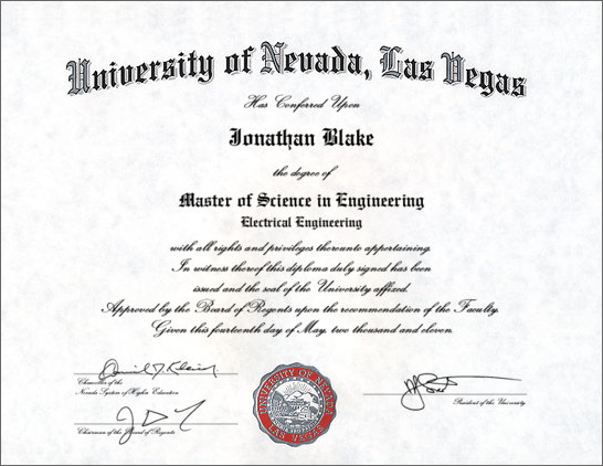 Jonathan's Master of Science in Electrical Engineering Diploma